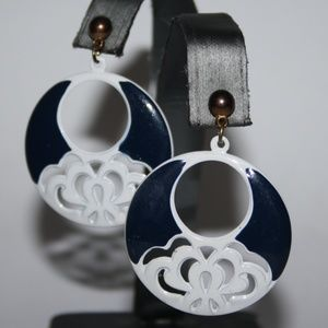 Vintage white navy and gold earrings